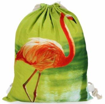 Dámske batohy praktická taška s módnym Plameniakovým vzorom Zelená