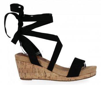 Lady Glory čierne dámske klinové sandále