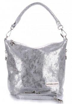 VITTORIA GOTTI vyrobená v Taliansku elegantná Kožená taška zo striebra