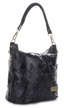 VITTORIA GOTTI vyrobené v Taliansku Kožená taška na posol s vyrazenou čiernou farbou