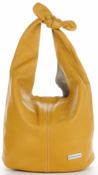 Vittoria Gotti Made in Italy Fashion Shopper XL s kozmetickou taškou univerzálna Kožená taška príležitostná Žltá