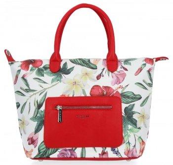 Módna dámska taška s Kvetinovou potlačou David Jones Červená