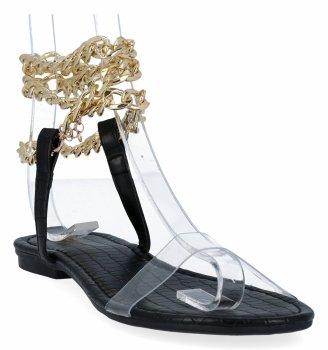 Čierne dámske sandále s retiazkou od Sergia Todziho