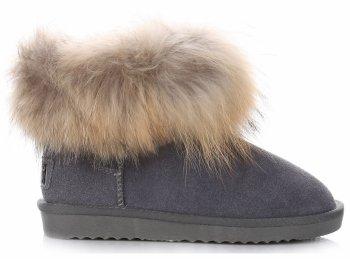 Talianske kožené členkové topánky dámske zimné topánky Raccoon Dog / Rabbit Grey