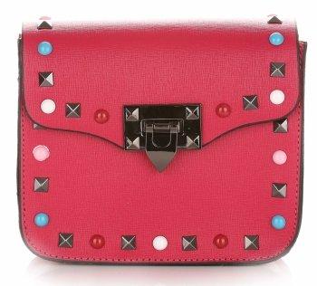 Módne talianske kožené Crossbody tašky s farebným fuchsiovým popruhom