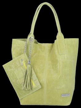 Univerzálna kožená nákupná taška XL v zvieracom štýle od Vittoria Gotti Lime