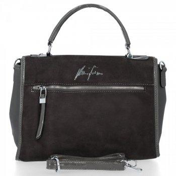 Elegantná taška dámska taška Velina Fabbiano Suede originálna / ekologická koža Šedá