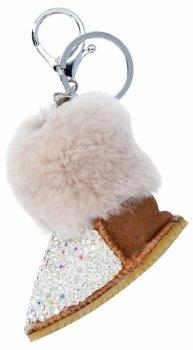 Kľúčenka na kabelku topánky s kamienkami zemité béžovej