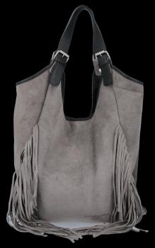 Módne kožené tašky Shopper Bag so strapcami od Vittoria Gotti Gray