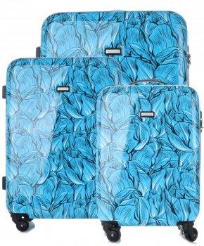 Módna sada kufrov 3 v 1 s možnosťou rozšírenia značky Madisson multicolor-modrý