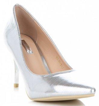 Elegantné patent kožené dámske bodce Bellucci Silver