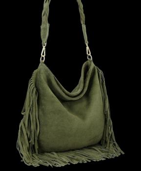 Univerzálna Kožená taška v štýle Boho od Vittoria Gotti zelený