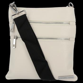 Univerzálna Kožená taška na messenger od spoločnosti Vittoria Gotti beige