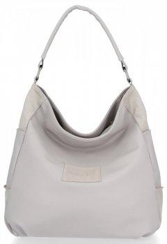 Robero Ricci značkové univerzálne Dámske tašky pravý semiš / eko koža svetlo šedá