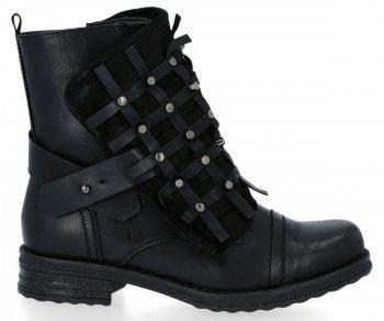 Čierne módne členkové topánky s plochou podrážkou Ivette