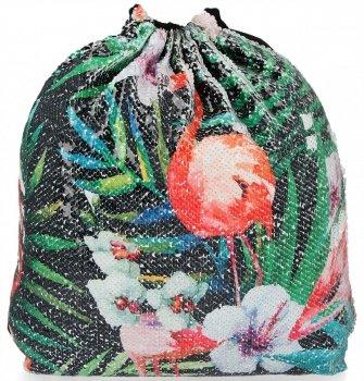 Módne batoh dámska taška s iskry Flamingo čierny