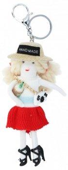 Kľúčenka pre kabelku bábika tamburína Červená