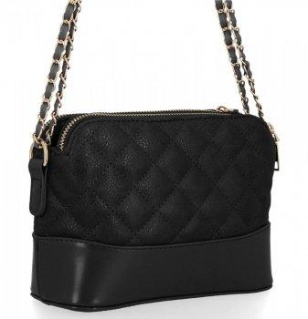 BEE BAG dvojkomorová taška Dámska prešívaná taška Messenger Paris čierny