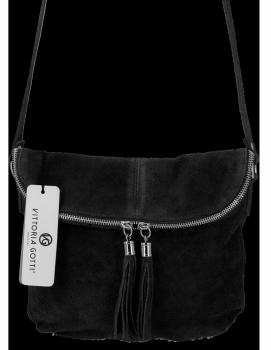 Vittoria Gotti Univerzálna Kožená Príležitostná Taška Messenger Veľkosť M Čierna