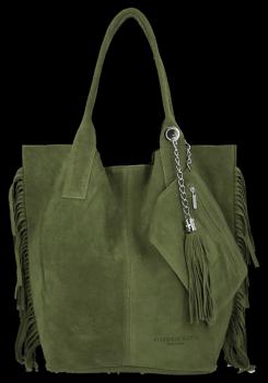 Módna kožená nákupná taška vyrobená zo semišu v Boho štýle od Vittoria Gotti zelený