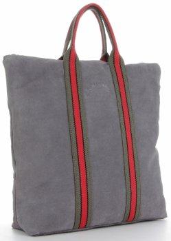Vittoria Gotti módne pruhované kožené tašky značkové Shopper vyrobené v Taliansku s funkciou batohu Šedá