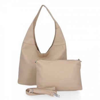 BEE Bag univerzálne Dámske tašky 2v1 Shopper s Messenger Bag Lena tmavo béžová