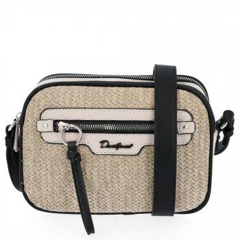 Dámska taška na messenger vyrobená z ratanu s 2 priehradkami David Jones svetlo béžová