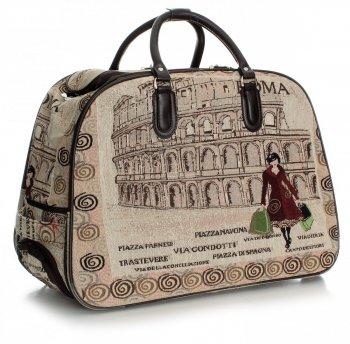Torba Podróżna na kółkach ze stelażem Or&Mi Roma Multikolor - Beżowa