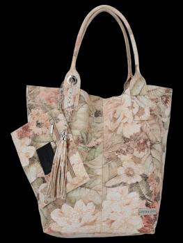 Módna kožená nákupná taška s Kvetinovou potlačou od Vittoria Gotti beige