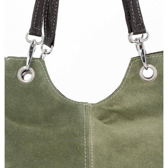 Kožené kabelky listonošky Zelená