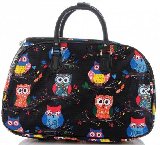 Průměrná cestovní taška kufřík Or&Mi vzor v sovy Multicolor - černá