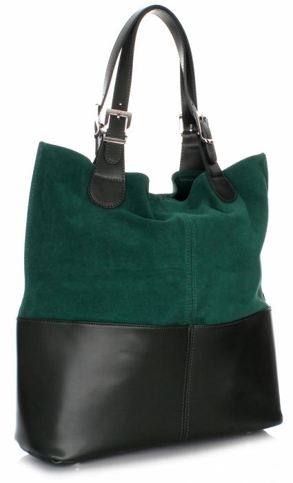 Kožená kabelka exkluzivní Shopper bag zelená - Panikabelkova.cz 3afee76e9b0