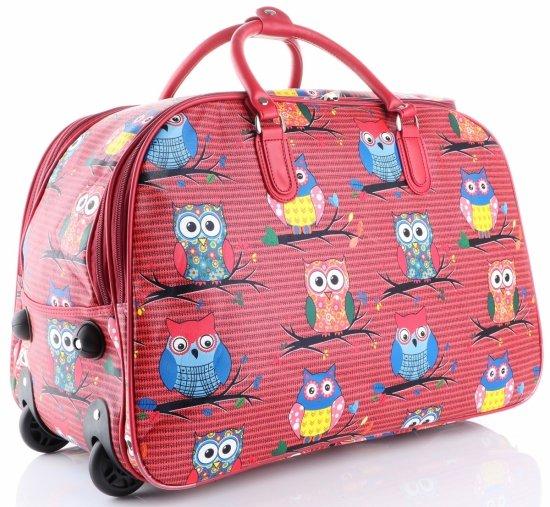Cestovní taška v sově na kolečkách s výsuvnou rukojetí Or&Mi multicolor červená