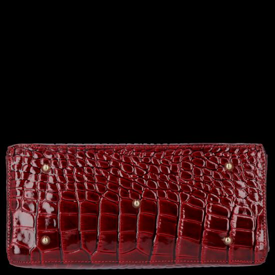 Elegantní Lakovaná Kožená Kabelka Kufřík s motivem aligátora Vittoria Gotti Made in Italy Bordová