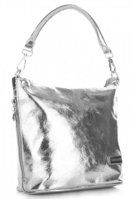VITTORIA GOTTI Made in Italy Eegantní Kožená kabelka listonoška stříbrná e43a6eae95e