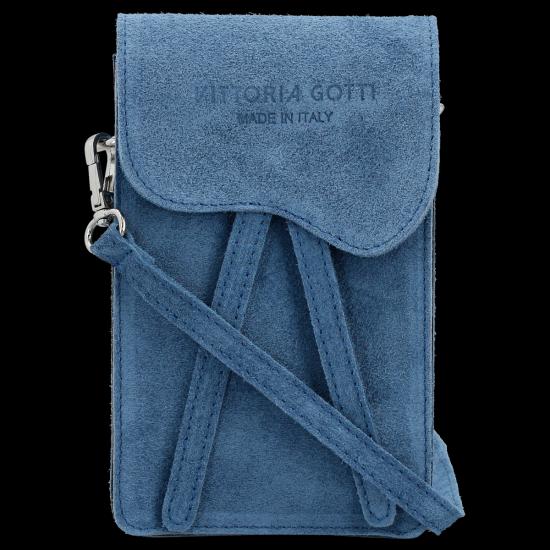 Vittoria Gotti Univerzální Kožená Kabelka Listonoška Jeans