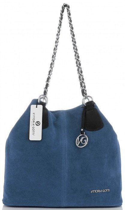 Vittoria Gotti Kožená Kabelka Shopper Made in Italy Jeans