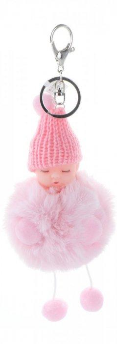 Přívěšek ke kabelce Slippy Baby s kožešinkou prášek růžový