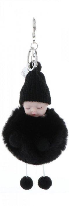 Přívěšek ke kabelce Slippy Baby s kožešinkou černý