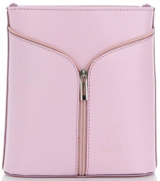 Kožená kabelka listonoška Made in Italy Prášková Růžová