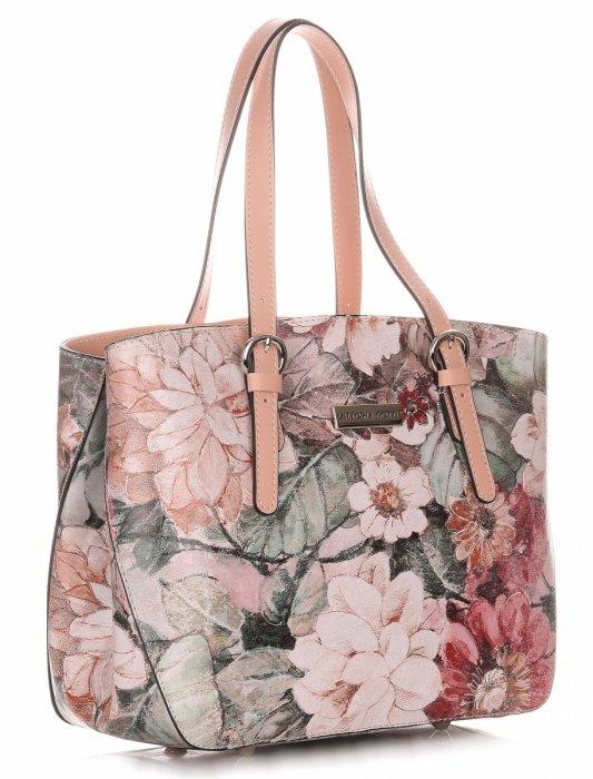 b38fed30985ec Torebka Skórzana Kuferek Vittoria Gotti w Kwiaty Multikolorowa Różowa