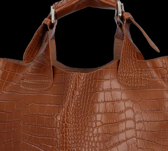 Vittoria Gotti Ekskluzywna Torebka Skórzana Shopper produkcji Włoskiej w modny wzór aligatora z Kosmetyczką Ruda