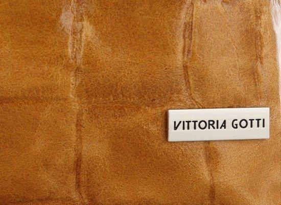 Vittoria Gotti Firmowa Torebka Skórzana Włoski Shopper w modny motyw Żółwia Ruda