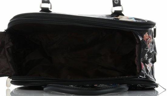 Mała Torba Podróżna Kuferek Or&Mi wzór w misie Multikolor - Czarna