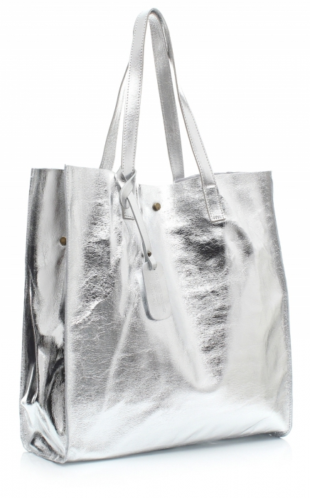 055e4b85c8500 Torba Skórzana Shopper Bag z Kosmetyczką Srebrna - Panitorbalska.pl
