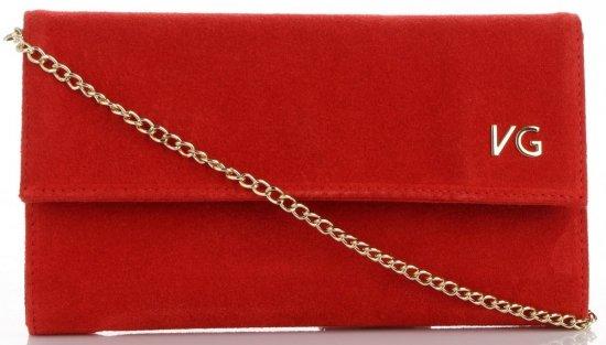 Firmowe Kopertówki Skórzane Vittoria Gotti Eleganckie Listonoszki na łańcuszku Made in Italy Czerwona