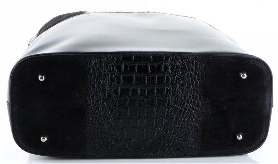 Uniwersalna Torba Skórzana Shopper XXL z Kosmetyczką wzór Aligatora Czarna