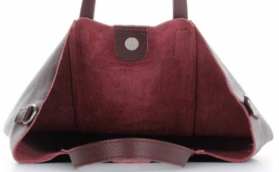 Vittoria Gotti Firmowy Shopper Made in Italy z Kosmetyczką Bordowy