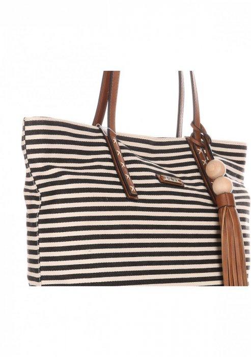 Duża Torba Damska David Jones Typu Shopper Bag XXL Beżowa/Czarna