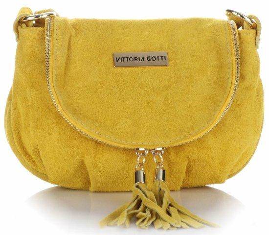 8dc31f12a533c Małe Torebki Skórzane Listonoszki Vittoria Gotti wykonane w całości z Zamszu  Naturalnego Żółta
